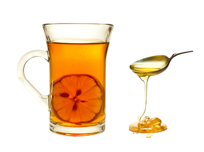 A cup of tea with lemon on a white background.